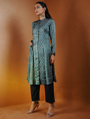 Indigo Button-down Ajrakh Gajji Silk Kurta with Pockets by Jaypore