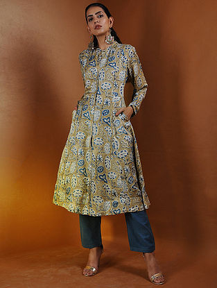 Beige-Indigo Button-down Ajrakh Gajji Silk Kurta with Pockets by Jaypore