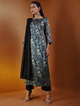 Indigo-Beige Ajrakh Gajji Silk Kurta with Tassels by Jaypore