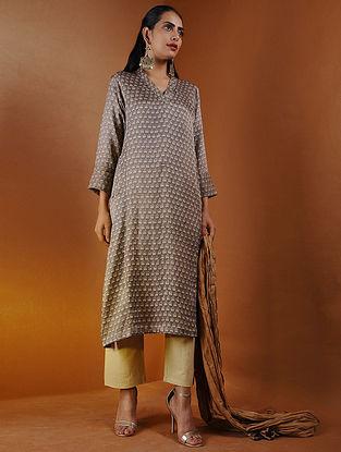 Beige Ajrakh Gajji Silk Kurta with Pockets by Jaypore