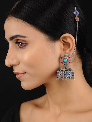 Tribal Silver Jhumki Earrings with Turquoise