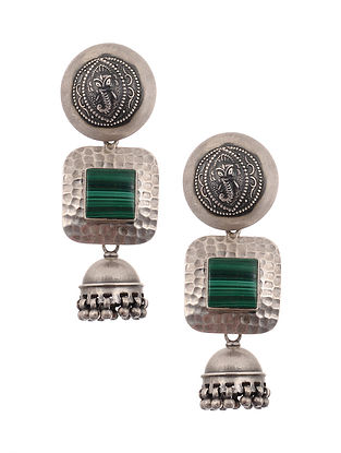 Tribal Silver Earrings with Malachite
