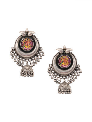 Tribal Silver Jhumki Earrings with Hand-painted Lord Ganesha Motif