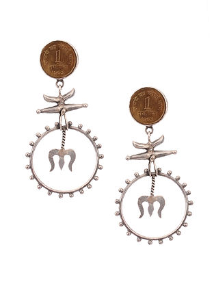 Dual Tone Silver Earrings with Coin Design