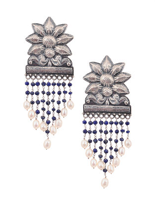 Tribal Silver Earrings with Blue Onyx and Pearls