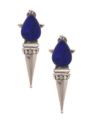 Lapis Lazuli Tribal Silver Earrings