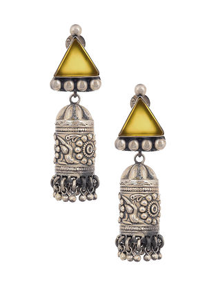 Yellow Tribal Silver Jhumki Earrings