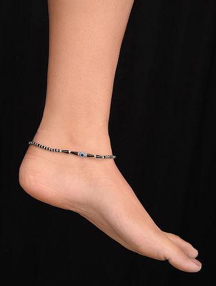 Black Tribal Silver Anklet with Evil Eye