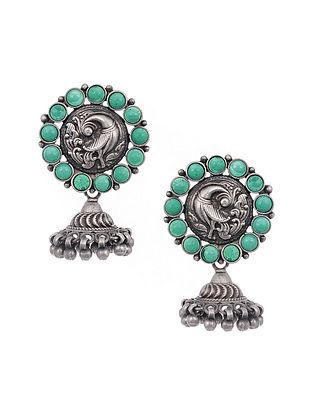 Green Tribal Silver Jhumki Earrings