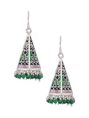 Green Black Meenakari Silver Jhumki Earrings