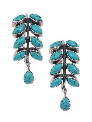 Turquoise Silver Hoop Earrings