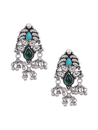 Turquoise and Green Tribal Silver Earrings
