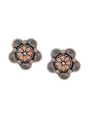 Orange Enameled Tribal Silver Earrings