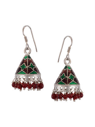 Red Green Meenakari Tribal Silver Jhumki Earrings