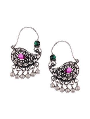 Maroon Green Tribal Silver Hoop Earrings