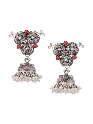 Tribal Silver Jhumki Earrings with Pearls and Coral