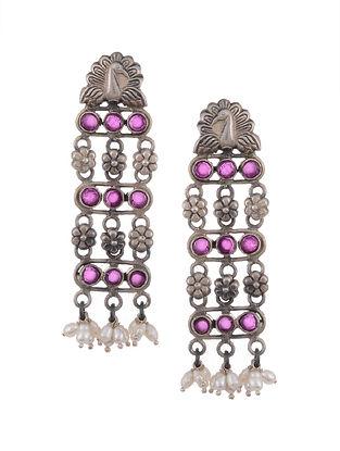 Maroon Tribal Silver Earrings with Pearls