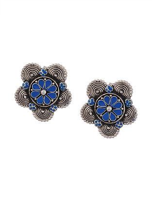 Blue Enameled Tribal Silver Earrings