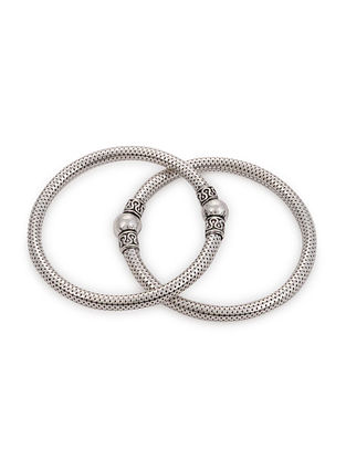 Tribal Silver Bangles for Babies (Set of 2)