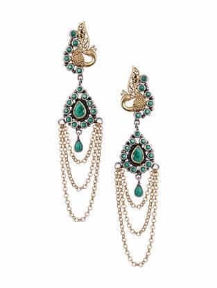Green Dual Tone Silver Earrings