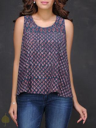 Indigo-Maroon Fadat-printed Cotton Top by Jaypore