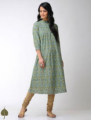 Sea-Green Block-printed Mandarin Collar Cotton Kurta with Gota trim by Jaypore