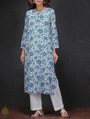 White-Blue Block-printed Cotton Kurta by Jaypore