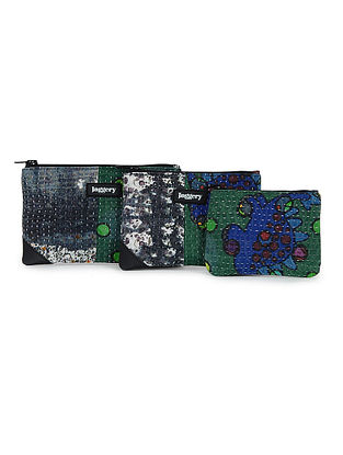 Multicolored Kantha Embroidered Cotton Utility Pouch (Set of 3)