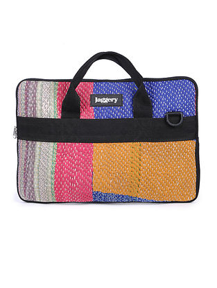 Multicolored Kantha Embroidered Cotton Laptop Bag
