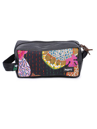 Black-Multicolor Kantha Embroidered Cotton Pouch