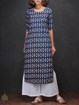 Blue-White Block-printed Round Neck Cotton Kurta by Jaypore