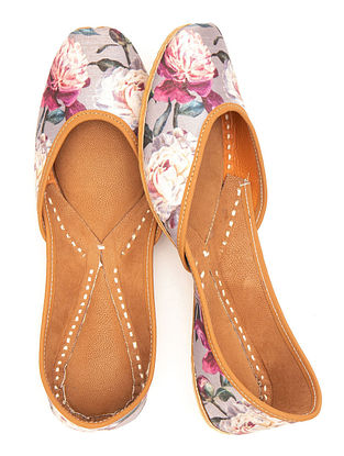 Grey Multicolored Handcrafted Printed Leather Juttis