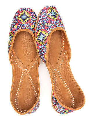Multicolored Handcrafted Printed Leather Juttis
