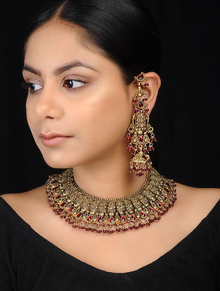 Red Gold-plated Silver Necklace with a Pair of Jhumkis
