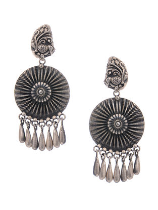 Tribal Silver Earrings with Peacock Motif