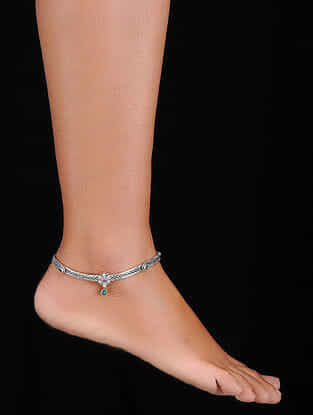 Green-Pink Silver Anklets (Set of 2)