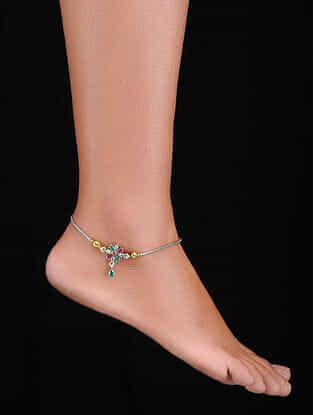 Green-Pink Gold-plated Silver Anklets (Set of 2)