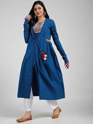 Blue Cotton Kurta with Rabari-embroidered Yoke