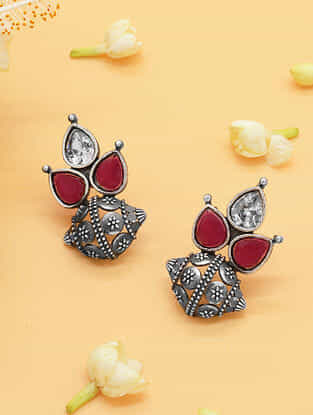 Red Silver Tone Tribal Earrings