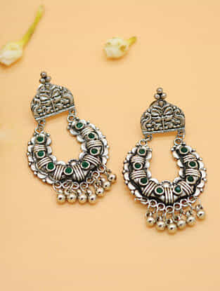 Green Silver Tone Tribal Chandbali Earrings