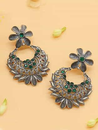 Green Silver Tone Chandbali Earrings