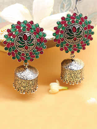 Red Green Silver Tone Jhumki Earrings