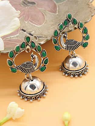 Green Silver Tone Jhumki Earrings