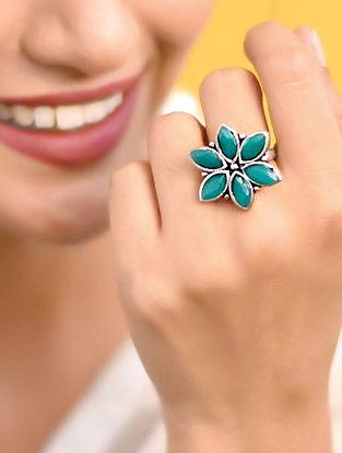 Green Silver Tone Tribal Ring