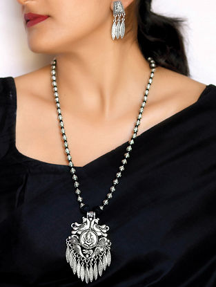 Black Silver Tone Tribal Necklace with Earrings