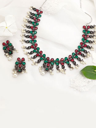 Red Green Silver Tone Tribal Necklace and Earrings with Pearls