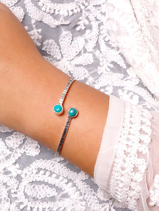 Turquoise Silver Tone Handcrafted Cuff