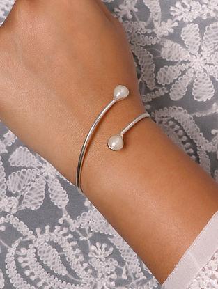 White Silver Tone Handcrafted Cuff