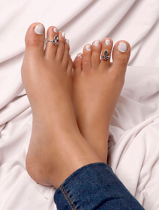 Silver Tone Tribal Toe Rings