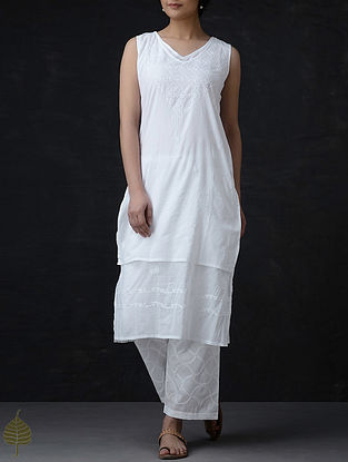 White Chikankari Layered Cotton Kurta by Jaypore